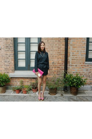 dark green polka dots Zara shirt - hot pink Valentino bag