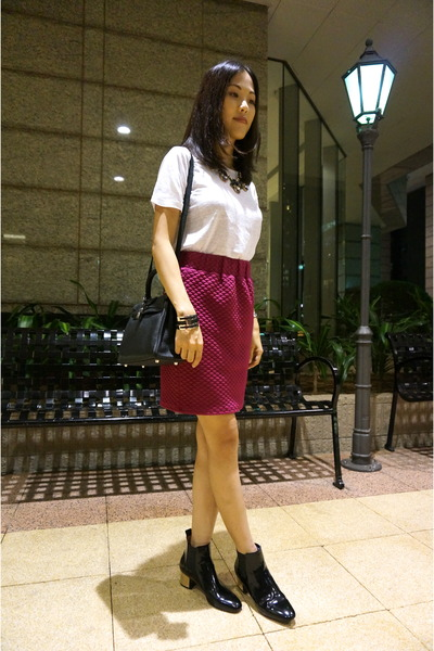 Magenta Bought From Japan Skirts, Black Zara Boots, Black Kelly ...