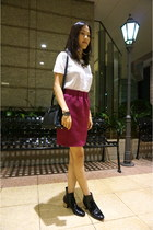 magenta Bought from Japan skirt - black Zara boots - black kelly bag Hermes bag