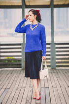 blue chucky knit acne sweater - white constance bag Hermes bag