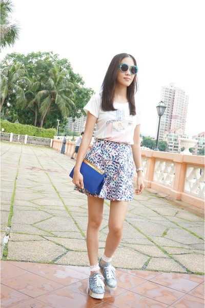 periwinkle mini skirt Club Monaco skirt - blue lutetia clutch Saint Laurent bag