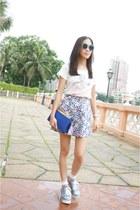 periwinkle mini skirt Club Monaco skirt - blue lutetia clutch Saint Laurent bag