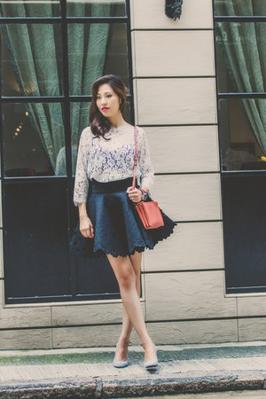 H&M skirt - Celine bag - free people bra - elvia lace top Joie top
