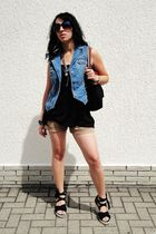 blue Gap vest - black H&M top - beige merona shorts - black unknown shoes - silv