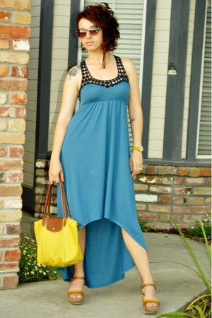 blue dress - yellow longchamp bag - brown wedges