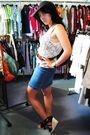 Blue-thrifted-dress-white-vintage-top-brown-vintage-belt-black-unknown-sho