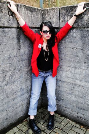 red vintage blazer - black Forever 21 blouse - gray Vans jeans - black thrifted 