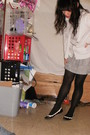 Black-berkshire-stockings-white-aeropostale-cardigan-silver-stooshy-skirt-