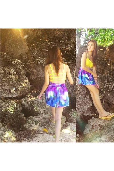 light yellow jersey type Gigi Amore bra - purple romwe skirt