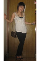 Zara top - unbranded pants - unbranded purse - - handmade by me accessories