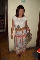 white unbranded blouse - moms closet skirt - brown Billabong belt - brown handma