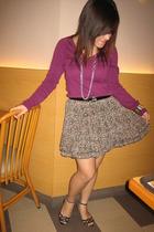 Zara sweater - unbranded skirt - unbranded necklace - unbranded bracelet - unbra