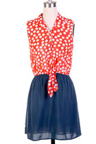 Retro Tie Front Polka Dot Print Dress