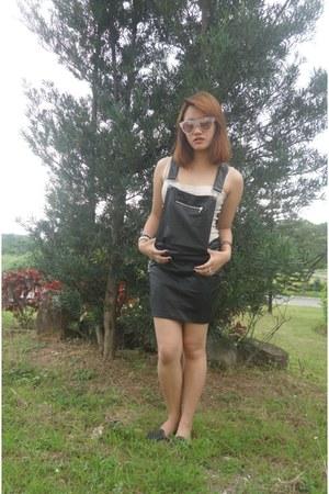 black black leather romwe jumper - light pink pink Forever 21 sunglasses