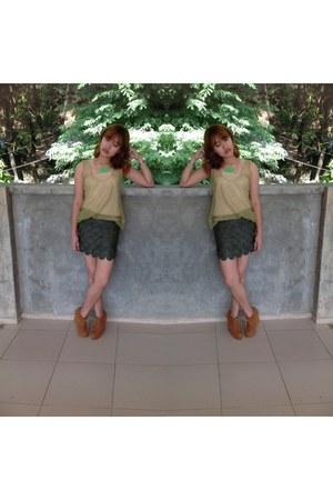fishscale skirt Vaintage skirt - brown Forever 21 wedges