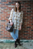 beige crochet thrifted sweater - sky blue thrifted jeans