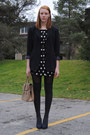 Black-polka-dot-h-m-dress-black-thrifted-blazer-camel-leather-thrifted-purse