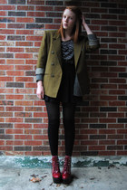 olive green thrifted blazer - crimson Jeffrey Campbell boots