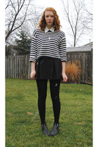 black leather thrifted boots - navy striped thrifted sweater