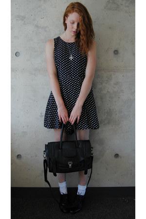 navy polka dot thrifted dress - black oxford thrifted shoes - black satchel bag