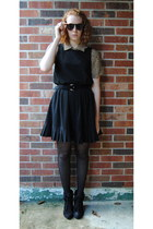light brown leopard thrift blouse - black Rampage boots - black thrift dress