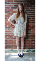mustard printed thrift dress - cream socks - navy vintage YSL heels