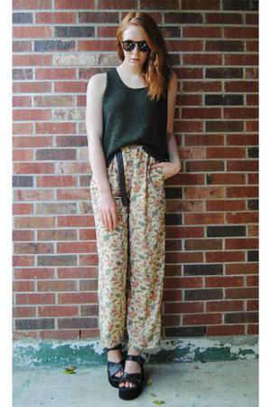 light yellow floral thrifted pants - dark brown Pure by Alfred Sung sunglasses