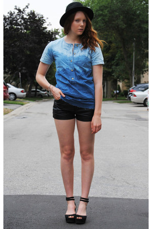 sky blue dip dyed DIY top - black bowler H&M hat - black leather Topshop shorts