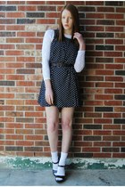 navy polka dot dress - white lace top - dark brown wooden clogs