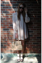 light pink H&M dress - tan thrift bag - peach Gap socks