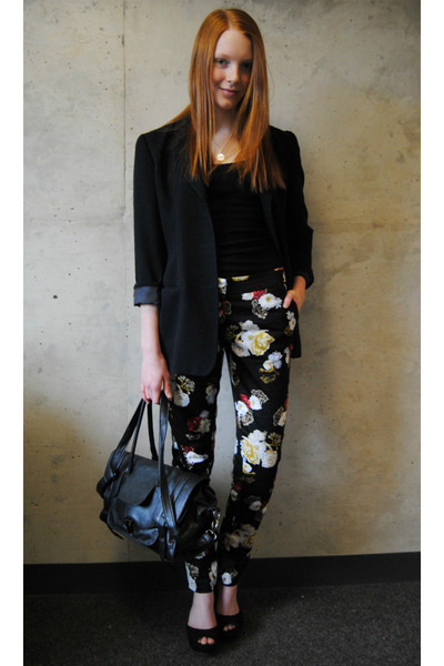 black floral H&M pants - black vintage thrifted blazer