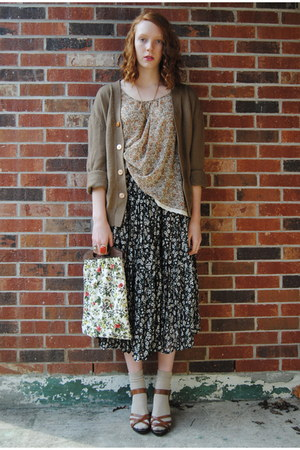 beige floral tapestry thrifted bag - tan floral sheer Forever 21 top