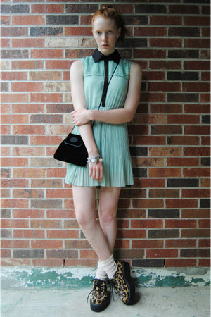 light blue pastel katie dress - dark brown creepers shoes