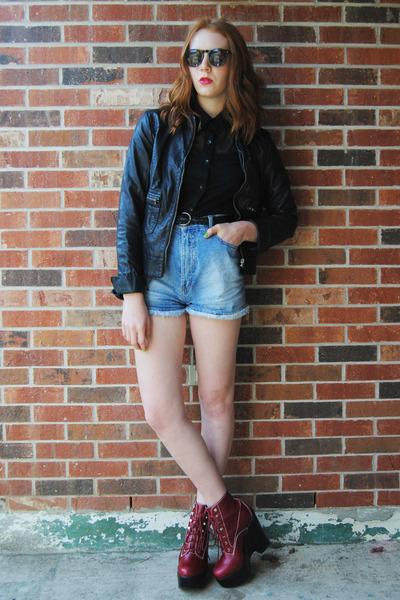 brick red platform Jeffrey Campbell boots - black faux leather gift jacket
