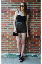 olive green high waisted thrifted shorts - black bustier thrifted top