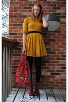 H&M dress - Jeffrey Campbell boots - thrifted bag - thrifted belt