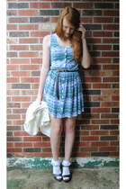 light purple aztec print Thrift & DIY dress - white lace dollarama socks