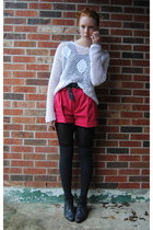 thrifted boots - crochet thrifted sweater - high waisted thrifted shorts