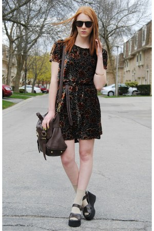 crimson velvet thrifted dress - dark brown satchel bag