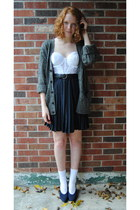 white bustier thrift top - white socks - black thrift belt