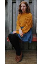 mustard knit thrift jumper - brown monk thrift shoes