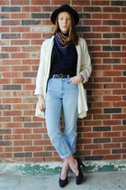 navy paisley gift scarf - light blue high waisted thrifted jeans