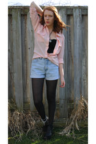 light blue denim thrifted shorts - light pink pastel Forever 21 blouse