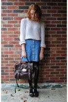 dark brown fake alexa bag - beige thrift sweater - black H&M tights