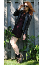 brown creepers shoes - magenta crochet thrifted dress - black leather jacket