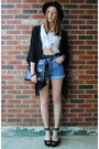 Black-bowler-h-m-hat-black-clutch-bag-sky-blue-denim-thrifted-shorts