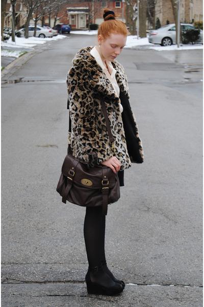 brown faux fur Guess coat - dark brown satchel NYC bag