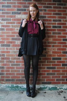 black velvet thrifted purse - maroon bow thrifted blouse - black thrifted belt