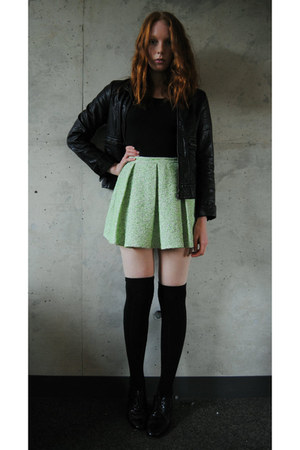 lime green boucle Topshop skirt - black oxfords thrifted shoes