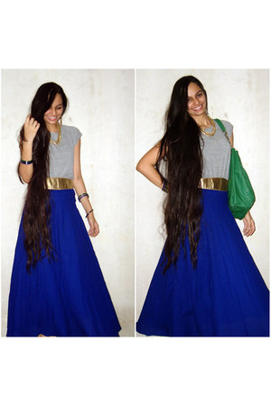 blue maxi skirt vintage skirt - heather gray Globus t-shirt
